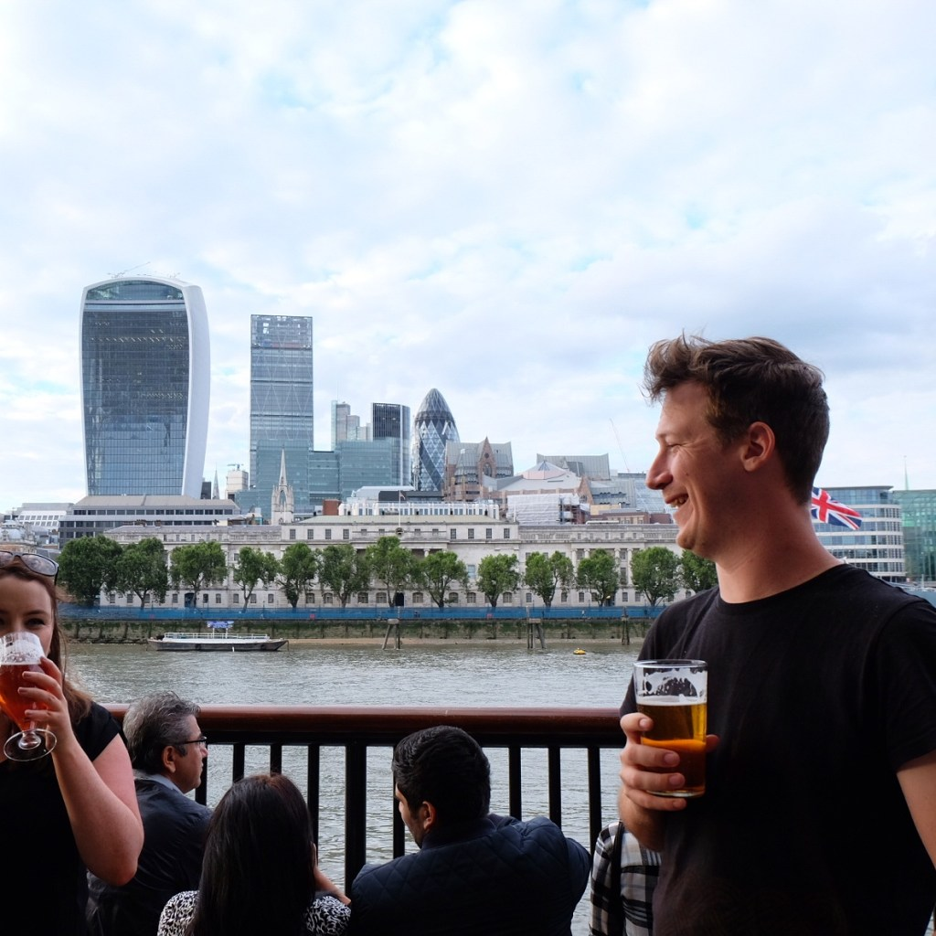 Beers at The Horniman overlooking the City of London