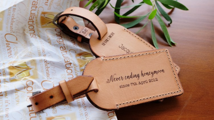 Never Ending Honeymoon Studio38 hand-made leather gift tags
