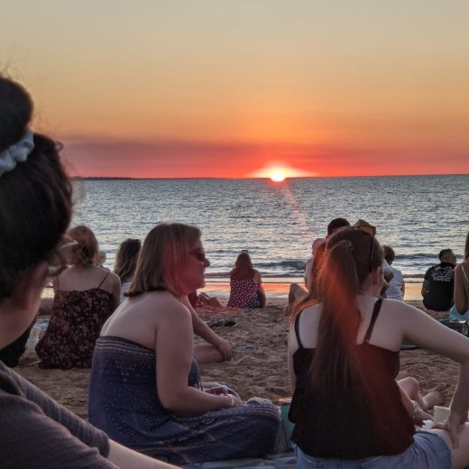 Beautiful sunset over Timor Sea at Mindil Beach, Darwin
