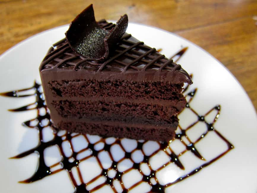 Chocolate cake at Charcoa Cafe