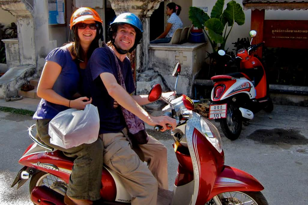 Us on a moped, Chiang Mai