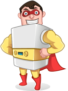 Gas furnace cartoon superhero mascot