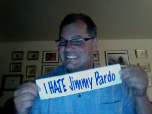 Me with my I Hate Jimmy Pardo bumper sticker