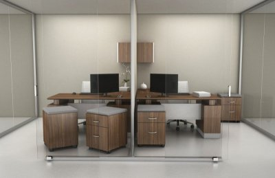 Americana office with colorcoat door overhead & mobile box files