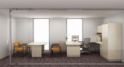 Americana office with u-shape desk overheads double door wardrobe