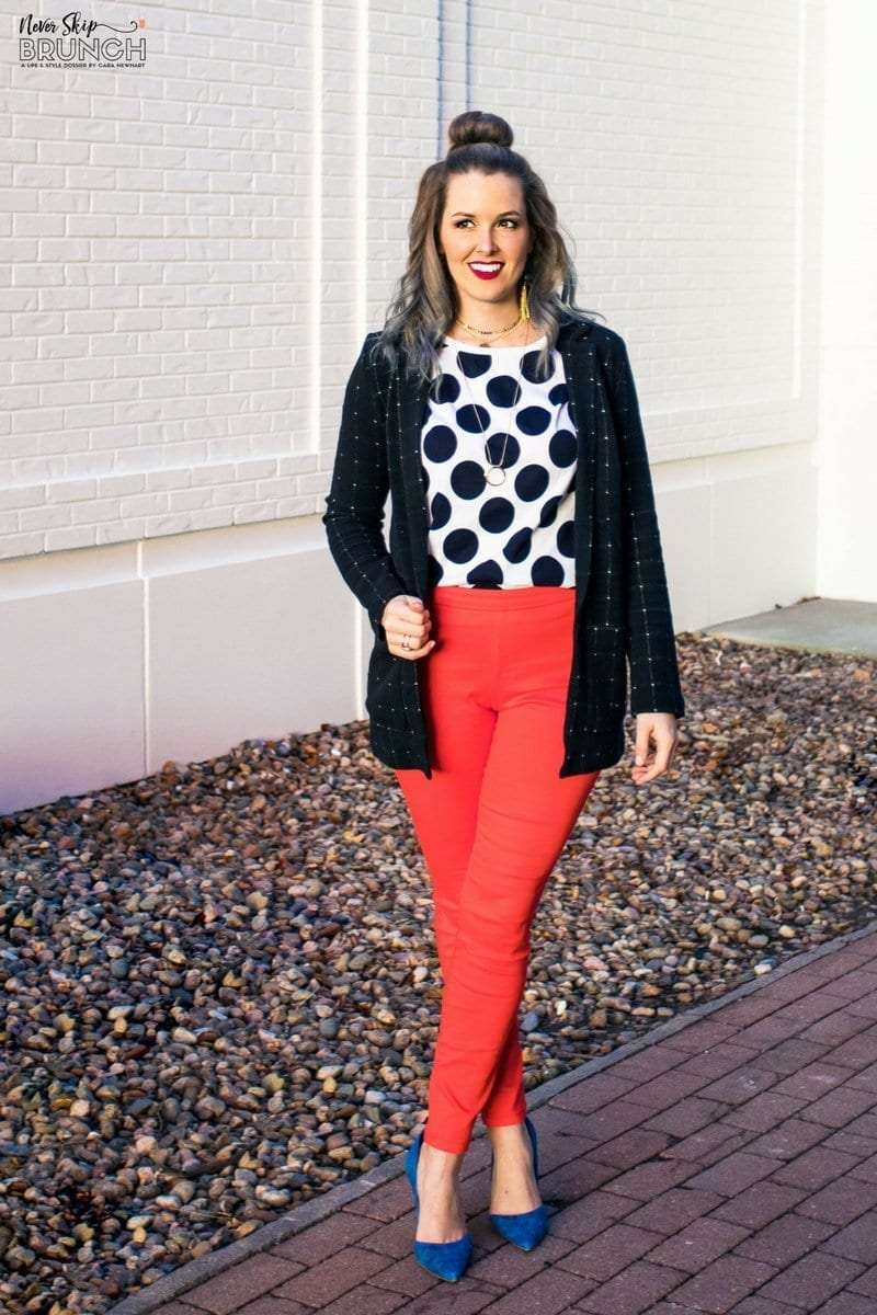 cute business casual look | big polka dots fashion | business casual not boring | fun business casual outfit | H&M outfit ideas | H&M style | fashion blogger | never skip brunch | cara newhart