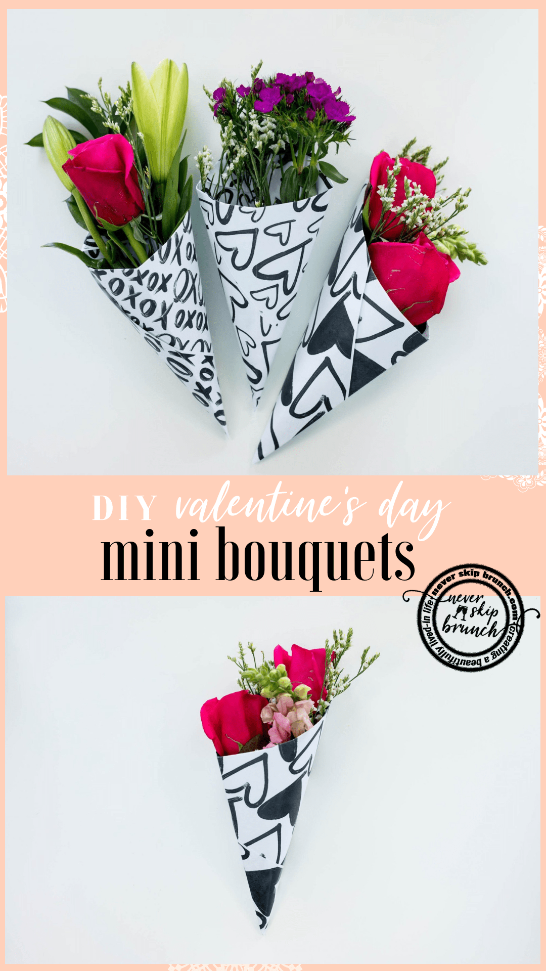 These are adorable! With FREE hand drawn bouquet wraps! | diy valetines day bouquet | valetines day bouquet | vday diy | valentines day flowers | valentines day party favors | Never Skip Brunch by cara newhart | #valentinesday #floral #bouquet #neverskipbrunch