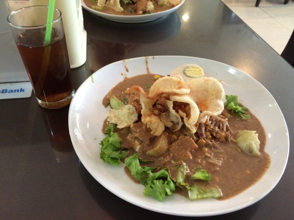 Gado-Gado = vegetables smothered in peanut sauce <3