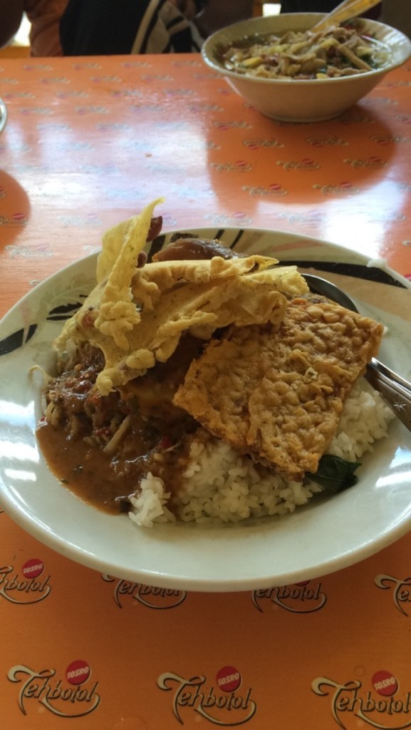 Nasi pecel <3 <3 rice, spinach, chicken, and tempe smothered in peanut sauce... my favorite dish
