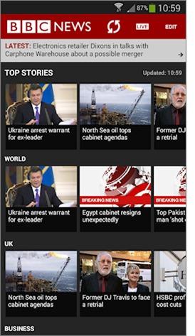 BBC News Android app