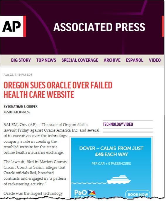 (AP) Orgeon sues Oracle...