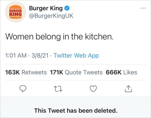 """Women belong in the kitchen."""