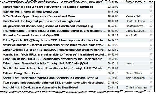 Heartbleed in RSS feed