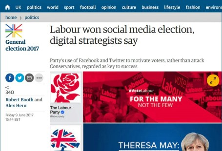 Labour won social media election - Guardian front page