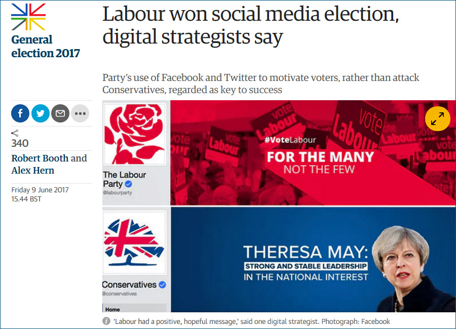 Labour won social media election - Guardian front page