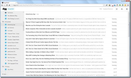 Digg Reader beta