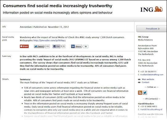 Good example of a social media press release from ING • Neville Hobson
