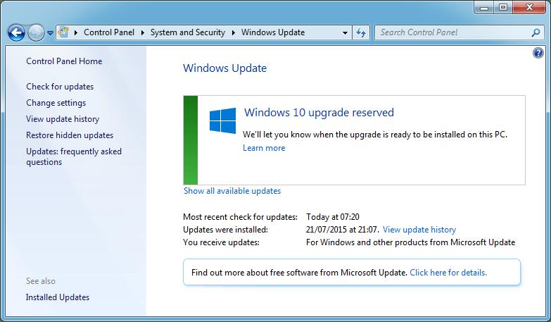 Windows 10 upgrade reserved
