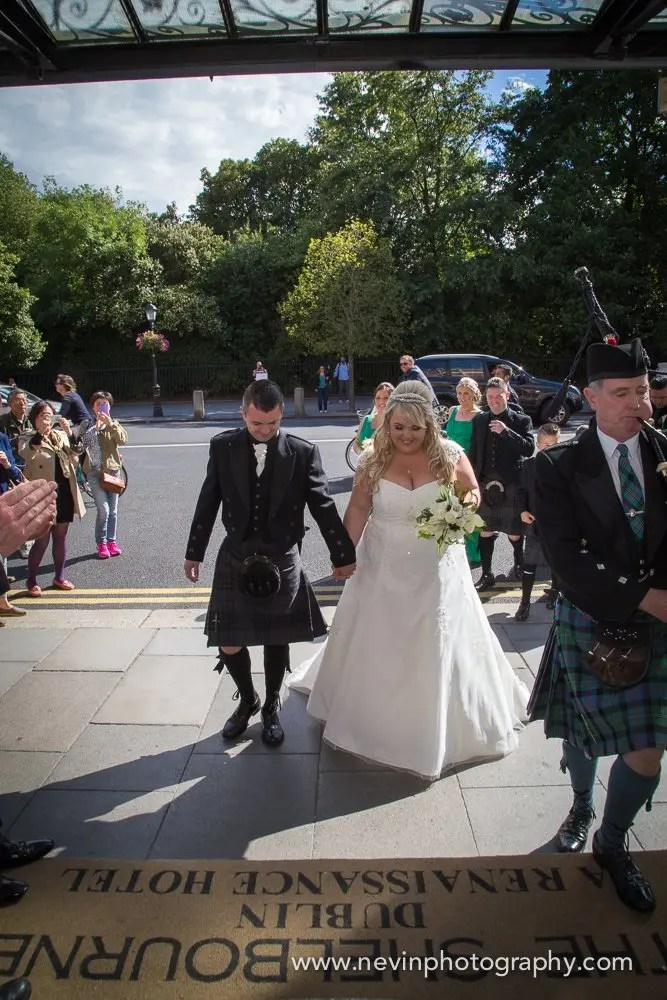 Bride & Groom enter the Shelbourne Hotel