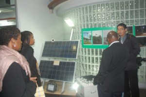Photo shows St. Kitts and Nevis' Prime Minister the Rt. Hon. Dr. Denzil L. Douglas visiting a solar panel manufacturing plant in Taiwan three years ago. Dr. Douglas was accompanied by Hon. Dr. Earl Asim Martin. (Photo by Erasmus Williams)