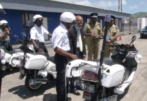 Governor General Lawrence inspects new police motorcycles