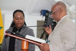 Leader of the Opposition Hon. Joseph Parry takes his oath at the Nevis Island Assembly