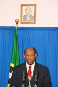 St. Kitts and Nevis' Prime Minister the Right Hon. Dr. Denzil L. Douglas at Wednesday's Press Conference (Photo by Erasmus Williams)