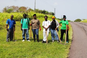 The five PEP recruits assigned to the Parks and Beaches Unit in Zone 6, with their supervisor, at Jelly Walk along the Island Main Road in St. Paul's. From left: Mr Washington Wattley, Mr Bishen Daniel (supervisor), Ms Jovanna Francis, Mr Darren Francis, Ms Faith Rawlins, and Ms Latasha Mulraine.