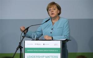 German Chancellor Angela Merkel makes a point during her speech at the German World Bank Group Forum 2013, in Berlin June 20, 2013. REUTERS/Tobias Schwarz