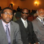right to left) Governor General of St. Kitts and Nevis, His Excellency Sir Edmund Lawrence; Speaker of the National Assembly, Hon. Curtis Martin and Attorney General, Hon. Jason Hamilton.