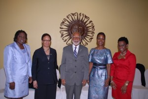 (Left to right) - OECS Commissioner Her Excellency Astona Browne; Ambassador to the Kingdom of Belgium and the European Union, Her Excellency Shirley Skerritt-Andrew; Governor General, His Excellency Sir Edmund Lawrence; Ambassador to the Republic of China (Taiwan), Her Excellency Jasmine Huggins and Ambassador to the United States and Permanent Representative to the Organisation of American States, Her Excellency Jacinth Henry-Martin.