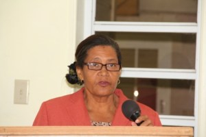 Maths Coordinator on Nevis Ms. Sylvia Fahie delivering remarks at the ceremony at the Department of Education in Marion Heights. The function was held to facilitate the handing over of a sponsorship cheque from the Royal Bank of Canada (RBC) RBTT to the Department of Education for the Maths Bowl in 2014