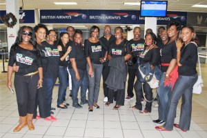 More members of the St. Kitts-Nevis Combined Choir pose for a group picture at the RLB International Airport.