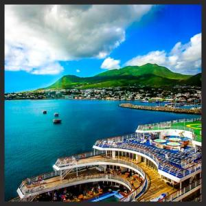 A view of the Marco Polo, which visited St. Kitts on Sunday 17th November, 2013. This photo was taken onboard the Carnival Conquest on its inaugural visit to St. Kitts on that day.