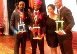 From (Left) Second runner-up Ronnie Morris of Barbados, Winner of first-ever Mr. Caribbean Pageant Kadeen Tyson , Producer of the Mr. Caribbean Pageant, Antoinette Mora , and first runner-up Godwin Charles of St Vincent and the Grenadines