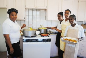PEP Food Preparation students who prepared the food, from left, Kadejah Matthew, Latoya Burke, Colleen Gumbs and Seubriena Rouse.