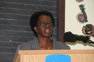 Ermileta Elliott, Education Officer and Chairperson for the opening ceremony of the Ministry and Department of Education's Reading Assessment Training workshop at Marion Heights on February 17, 2014