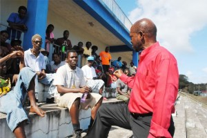 One-one-One: Prime Minister is engaged by PEP worker Mr Carlus Powell.