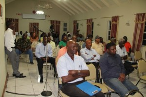 A section of persons at a joint town hall meeting organised by the Nevis Island Administration and the High Command of the Nevis Division of the Royal St. Christopher and Nevis Police Force on March 13, 2014 at the Red Cross Building
