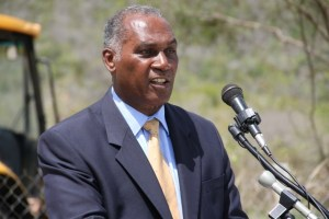 Premier of Nevis Hon. Vance Amory delivering remarks at the ground breaking ceremony for the expansion of the Mount Nevis Hotel at Newcastle on April 24, 2014