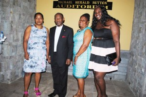PEP worker Ms Janel Nanton (left) with Prime Minister Douglas, Proprietor of the Vern 'N' Llew Preschool Mrs Vernitha Barry-Collins, and PEP Coordinator in Nevis Ms Kerlyn Jones.