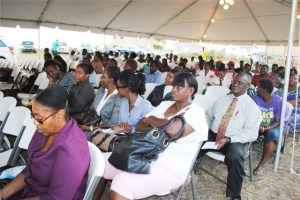 A cross section of persons who attended the groundbreaking ceremony at Pine Garden Horizons in Constituency Number 2, Central Basseterre.