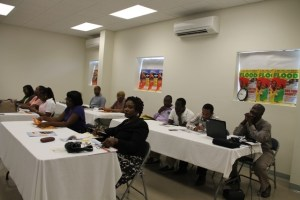 Participants at a one-day consultation hosted by the OECS Secretariat in collaboration with the Nevis Island Administration on June 05, 2014 at the Emergency Operating Centre at Long Point