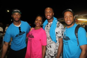 Members of the Brown Family from Brown Hill on Nevis among them Sandra Brown (second from left) and her son Travaughn Brown (extreme left) moments after they disembarked from the MV Prince Devonte J at the Charlestown Pier on Nevis on the evening of July 29, 2014