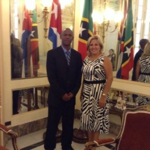 St. Kitts and Nevis' Ambassador-Designate to Cuba, His Excellency Kenneth Douglas (left) and Cuba's Deputy Minister of Foreign Affairs, Her Excellency, Ms. Ana Teresita Gonzalez Fraga
