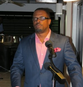 Deputy Premier of Nevis and Senior Minister in the Ministry of Social Development Hon. Mark Brantley delivering remarks at a reception for outstanding teenagers on Nevis at the Mount Nevis Hotel on November 22, 2014