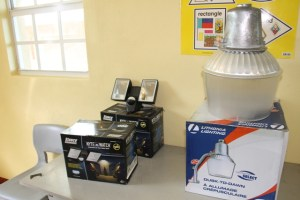 Some of the lighting equipment donated to schools on Nevis by Crime Stoppers in collaboration with the Ross University School of Medicine and Four Season Resort, Nevis, at the Department of Education's Conference Room at Pinney's Industrial Site on October 31, 2014