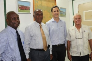 (L-R) Permanent Secretary in the Premier's Ministry Wakely Daniel, Premier of Nevis Hon. Vance Amory, Israel's Ambassador to St. Kitts and Nevis and the Caribbean His Excellency Mordehai Amihai-Bivas and Israel's Honorary Council in St. Kitts and Nevis Jacques Cramer at the Nevis Island Administration building in Bath Plain on April 07, 2015