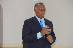 """Premier of Nevis Hon Vance Amory, delivering remarks at The Department of Human Resources' """"Understanding the Public Service"""" seminar on July 8, 2015, at the St. Paul's Anglican Church Hall"""
