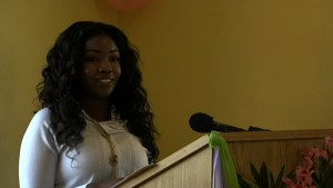 Catharine Seabrookes, a participant of the Prospective Teachers' Course delivering remarks at the Department of Education's Prospective Teachers' Course closing ceremony on July 03, 2015 at the Department of Education's Conference Room at Pinney's Industrial Site
